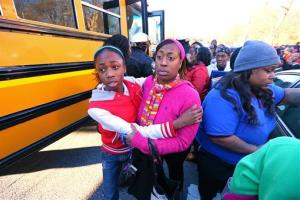 Tiffany Myricle, 37, with daughter Xavia Denise Myricle after families were reunited.