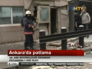 In this image made from video, emergency personnel are seen in front of a side entrance to the US Embassy following a blast, Ankara, Turkey, Friday, Feb. 1, 2013.