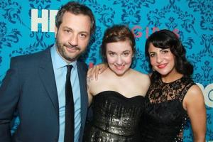 Producers from left, Judd Apatow, Lena Dunham and Jenni Konner pose at the premiere of the HBO original series Girls, Wednesday, April 4, 2012 in New York.