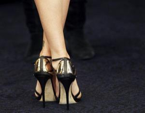 That happens to be actress Charlize Theron wearing high heels at a publicity shoot.