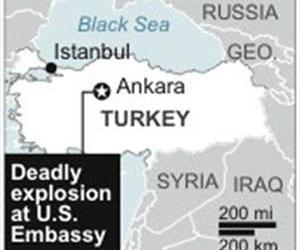 Map locates Ankara, Turkey, site of a U.S. embassy explosion.