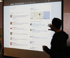 In a 2010 file photo, Twitter CEO Evan Williams makes a presentation about changes to the social network.
