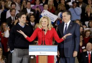 In this Feb. 28, 2012, file photo, Ann Romney introduces Mitt and son Tagg in Novi, Mich.