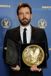 Ben Affleck poses with his award for outstanding directorial achievement in feature film for Argo at the 65th Annual Directors Guild of America Awards on Saturday, Feb. 2, 2013.