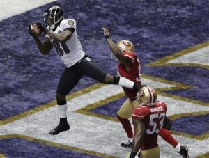 Baltimore Ravens wide receiver Anquan Boldin (81) catches a 13-yard pass for a TD in the first quarter.