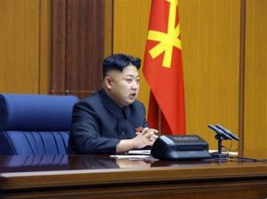 North Korean leader Kim Jong Un attends an enlarged meeting of the Central Military Commission of the Workers' Party of Korea at an undisclosed location of North Korea.
