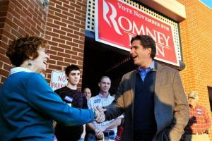 Tagg Romney visits the GOP headquarters at Candlers Station Mall in Lynchburg, Va., on Thursday, Oct. 11, 2012.