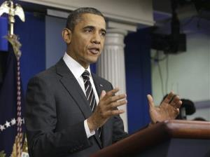 President Barack Obama gestures as he speaks in the James Brady Press Briefing Room of the White House in Washington, Tuesday, Feb. 5, 2013.
