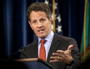 This Feb. 2, 2012 file photo shows then Treasury Secretary Timothy Geithner during a news conference at the Treasury Department in Washington.