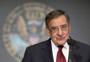 Secretary of Defense Leon Panetta delivers his speech to Georgetown University students and faculty on leadership and public service in Washington, Wednesday, Feb. 6, 2013.