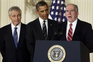 This Jan. 7 file photo shows President Obama and his choice for CIA chief, John Brennan, right. At left is Chuck Hagel.