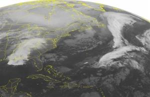 This NOAA satellite image taken at 01:45 am EST today shows fair conditions along the Eastern Seaboard, but two storms are steadily moving toward New England.