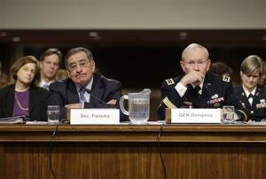 Outgoing Defense Secretary Leon Panetta, and  Joint Chiefs Chairman Gen. Martin Dempsey, testify on Capitol Hill Thursday.