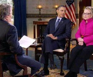 "Barack Obama and Hillary Clinton speak with ""60 Minutes"" correspondent Steve Kroft in the Blue Room of the White House, Jan. 25, 2013."