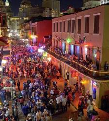 Revelers crowd Bourbon Street for Super Bowl XLVII in this file photo from Sunday, Feb. 3, 2013. A shooting last night injured four people, one critically.