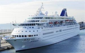 A Cypriot-owned cruise ship sits in Barcelona's port in this March 4, 2010, file photo.