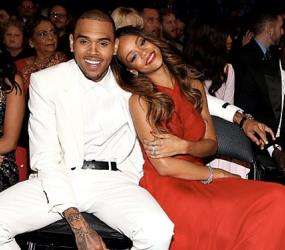 'People' tweeted this photo of Chris Brown and Rihanna at the Grammys.