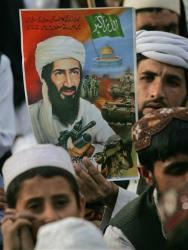 A poster of Osama bin Laden.