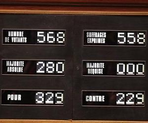 The board with the results of the vote at the National Assembly in Paris, Tuesday Feb. 12, 2013, of a new law legalizing gay marriage.