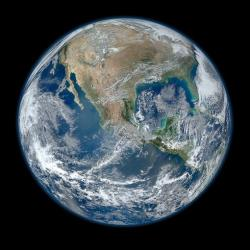 This image provided by NASA shows a 'Blue Marble' image of Earth taken from space.