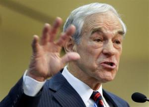 This Feb. 1, 2012, file photo shows then-Republican presidential candidate Ron Paul speaking in Las Vegas.