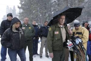 San Bernardino County Sheriff, John McMahon talks to the media during a news conference about the search for fired Los Angeles police officer, Christopher Dorner in Big Bear Lake, Calif. Friday, Feb. 8, 2013.