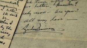 """The signature of Lyndon Johnson, then 26, is seen on a love letter sent to Claudia Alta """"Lady Bird"""" Taylor, then 21, at the LBJ Presidential Library at the University of Texas, Feb. 13, 2013."""