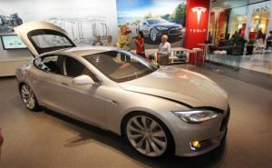 A Tesla Model S in the showroom at the Washington Square Mall in July.