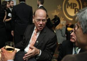 Rep. Steve Cohen, D-Tenn., left, speaks to invited guests during the reception at the Marijuana Policy Projects 15th annual gala, Wednesday, Jan. 13, 2010, in Washington.