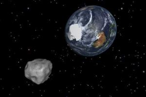This image provided by NASA/JPL-Caltech shows a simulation of asteroid 2012 DA14 approaching from the south.