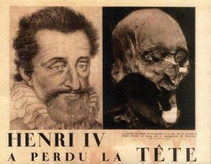 This undated photo provided by Galaxie Presse Thursday Dec.16, 2010 shows what is believed to be the head of former French King Henry IV, right, and his portrait on an engraving.