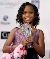In this Jan. 10, 2013 photo, Quvenzhane Wallis is seen with her award for best young actress for Beasts of the Southern Wild, at the 18th Annual Critics' Choice Movie Awards in Santa Monica, Calif.