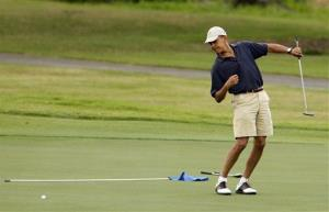 The game was off-limits to the press, so here's a picture of Obama playing golf in Hawaii.