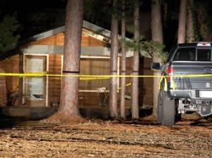 Crime scene tape blocks off the front of a home in Heber Springs, Arkansas, where country singer Mindy McCready was found dead in an apparent suicide.  She was 37.