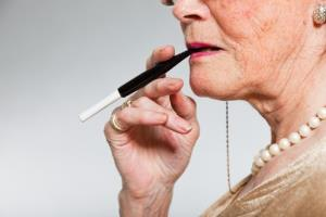 An aging smoker, with pearls.