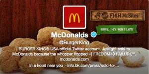 This frame grab taken Monday shows Burger King's Twitter account after it was hacked.