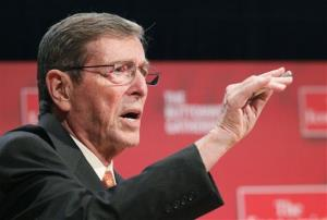 Pete Domenici, former senator from New Mexico, speaks in a 2010 file photo.