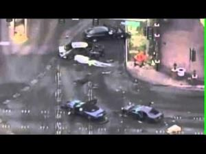A gun battle between two cars on the Vegas Strip early this morning has left three dead, at least three injured, and caused a five-car accident.