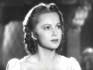 A screenshot of Olivia de Havilland from Captain Blood.