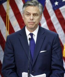 Former Utah Gov. Jon Huntsman announces he is ending his presidential campaign, Monday, Jan. 16, 2012, in Myrtle Beach, SC.