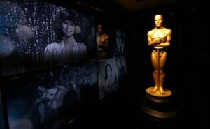 An Oscar statue is seen in front of the Oscar Green Room for the 85th Academy Awards in Los Angeles, yesterday.