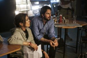 This publicity photo released by Columbia Pictures shows director Kathryn Bigelow and writer Mark Boal on the set of Zero Dark Thirty.
