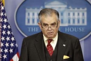 Transportation Secretary Ray LaHood briefs reporters regarding the sequester, at the White House in Washington.