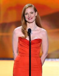 Jessica Chastain speaks onstage at the 19th Annual Screen Actors Guild Awards at the Shrine Auditorium in Los Angeles on Sunday Jan. 27, 2013.