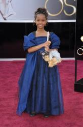 Actress Quvenzhane Wallis arrives at the 85th Academy Awards at the Dolby Theatre on Sunday Feb. 24, 2013, in Los Angeles.