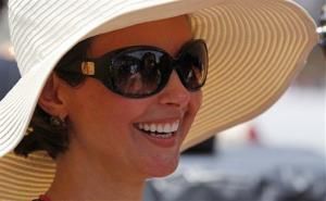 Actress Ashley Judd, wife of IndyCar driver Dario Franchitti watches the Indianapolis 500 auto race at the Indianapolis Motor Speedway in Indianapolis, Sunday, May 29, 2011.