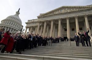 Members of Congress line the steps to the Capitol building in Washington, Thursday, Jan. 3, 2013.