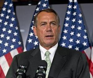 Following a closed-door party caucus, John Boehner meets with reporters, on Capitol Hill, calling on President Obama and the Senate to avoid the automatic spending cuts set to kick in this week.