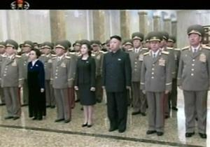 In this Feb. 16, 2013 image made from video, North Korean leader Kim Jong Un, center right, and his wife Ri Sol Ju, center left, arrive at the Kumsusan Palace of the Sun in Pyongyang.