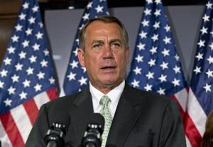 House Speaker John Boehner meets with reporters on Capitol Hill in Washington, Tuesday, Feb. 26, 2013.